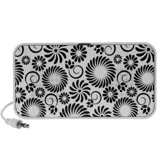 black and white floral doodle speakers