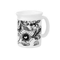 black and white floral elegance beverage pitchers