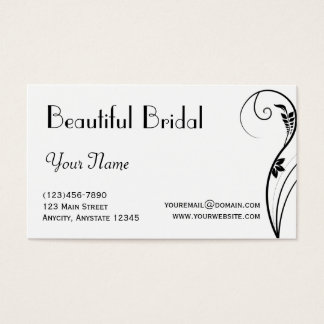Black and White Floral Elegance Business Card
