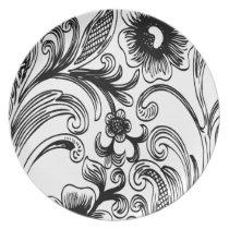 black and white floral elegance melamine plate