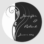 Black and White Floral Elegance Sticker