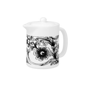 black and white floral elegance Teapot teapot