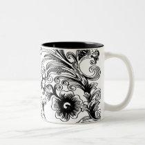 black and white floral elegance Two-Tone coffee mug