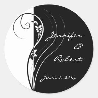 Black and White Floral Elegance Wedding Classic Round Sticker