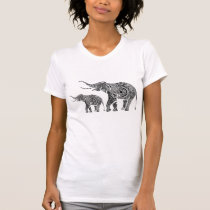 Black And White Floral Elephant T-Shirt