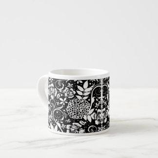 Black and White Floral Espresso or Eggnog Mug