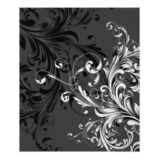 Black and White Floral Flourish Poster