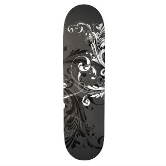 Black and White Floral Flourish Skateboard Deck