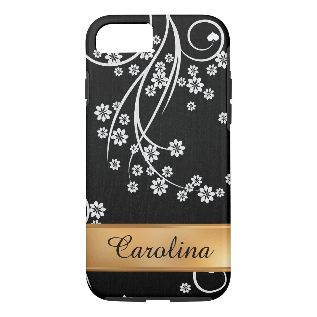 Black and White Floral, Gold Name iPhone 7 Case