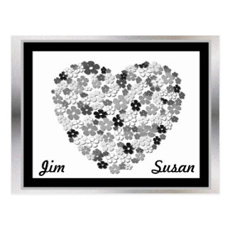 Black and White Floral Heart Save the Date Postcard