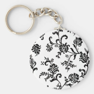 Black and White Floral Keychain