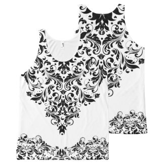 Black And White Floral Lace Design All-Over Print Tank Top
