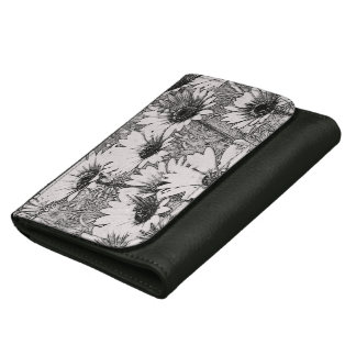 Black and White Floral Leather Wallet