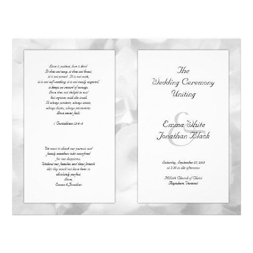Black and White Floral Long Ceremony Program Full Color Flyer