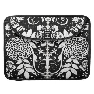 Black and White Floral MacBook Pro Laptop Sleeve MacBook Pro Sleeve