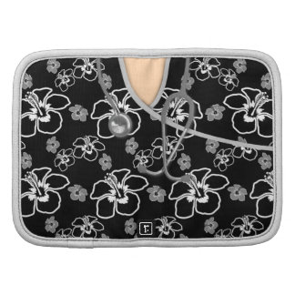 Black And White Floral Medical Scrubs Organizers