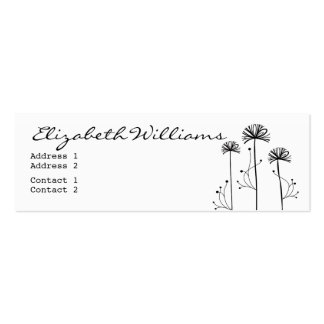 Black and White Floral Mini Business Card