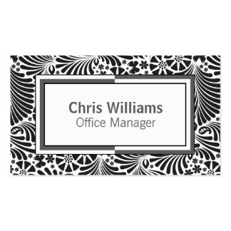 Black and White Floral Modern Professional Double-Sided Standard Business Cards (Pack Of 100)