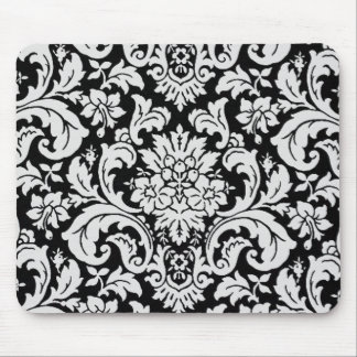 Black and White Floral Mouse Pad