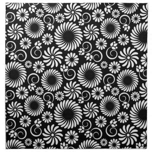 Black and white floral Napkin