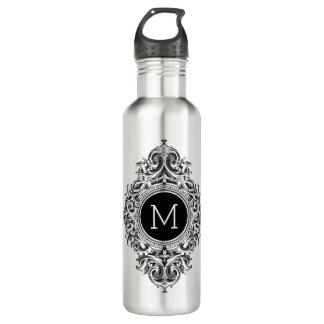 Black And White Floral Ornament Stainless Steel Water Bottle