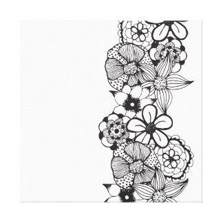 Black and White Floral Outline Canvas Print