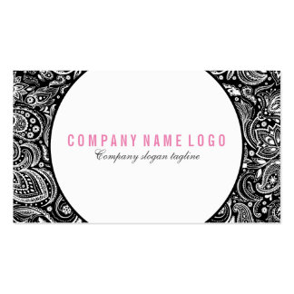 Black And White Floral Paisley Business Card