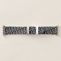 Black and White Floral Pattern Apple Watch Band