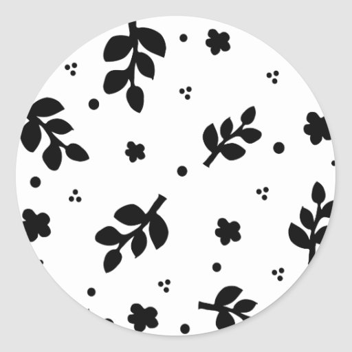 Black and White Floral pattern Classic Round Sticker