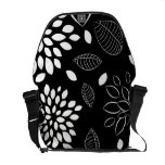 Black and White Floral Pattern Courier Bags