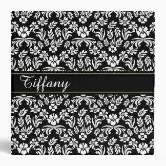 Black and White Floral Pattern Custom Binder