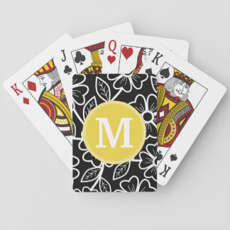 Black and White Floral Pattern Custom Monogram Playing Cards