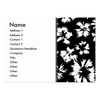 Black and white floral pattern. Funky. Large Business Cards (Pack Of 100)