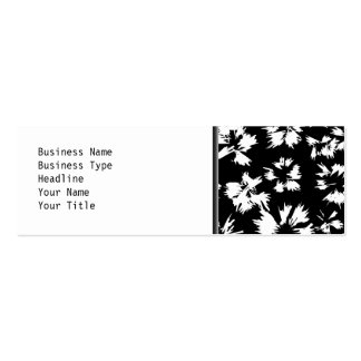Black and white floral pattern. Funky. Double-Sided Mini Business Cards (Pack Of 20)