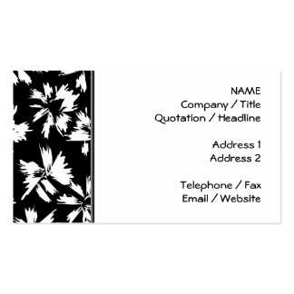 Black and white floral pattern. Funky. Double-Sided Standard Business Cards (Pack Of 100)