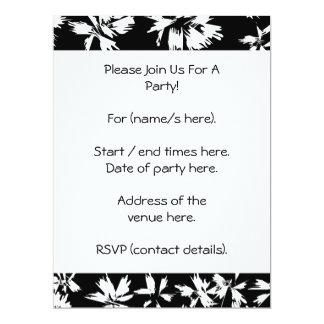Black and white floral pattern. Funky. 6.5x8.75 Paper Invitation Card
