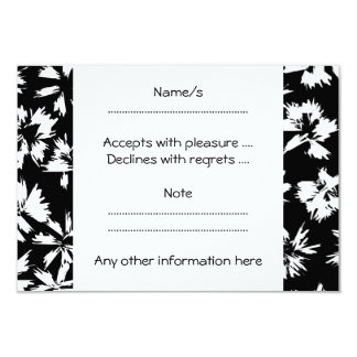 Black and white floral pattern. Funky. 3.5x5 Paper Invitation Card