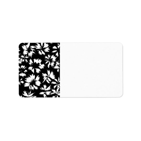 Black and white floral pattern. Funky. Label