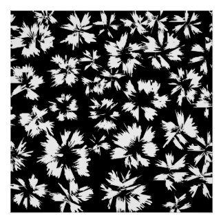 Black and white floral pattern. Funky. Print
