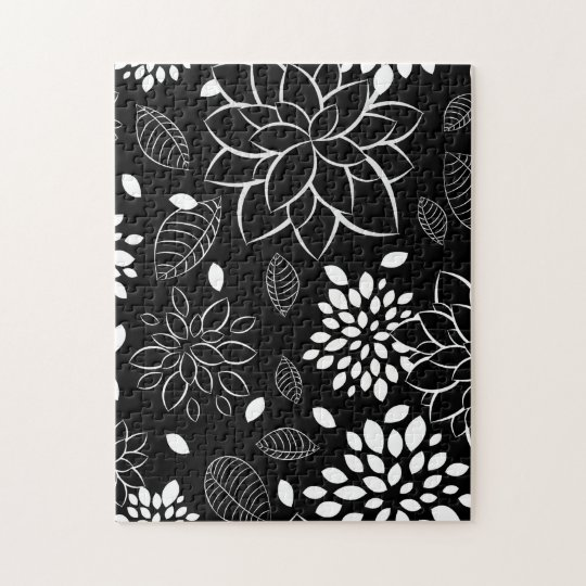 Black and White Floral Pattern Jigsaw Puzzle