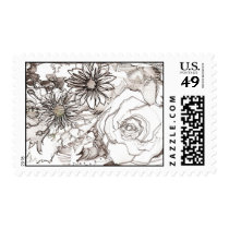 Black and White Floral Pattern Postage