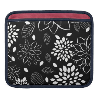 Black and White Floral Pattern Sleeve For iPads