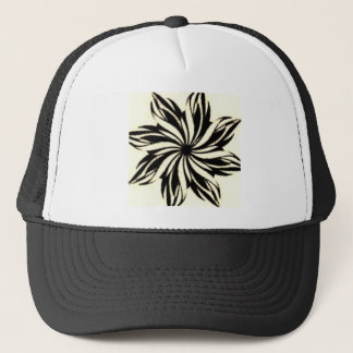 Black and White Floral Pattern Trucker Hat