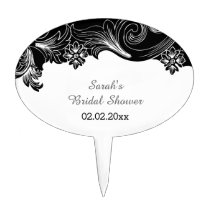 black and white floral Personalized Cake Picks