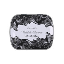 black and white floral personalized candy tins