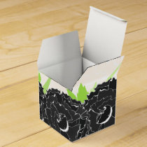 black and white floral personalized favor boxes