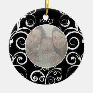 Black and White Floral Personalized Photo Ornaments