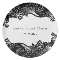 black and white floral Personalized Plate