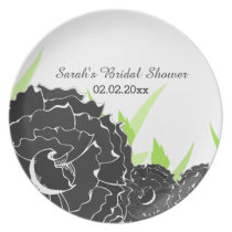 """black and white"" floral Personalized Plate"