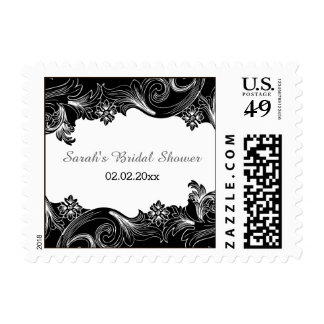 black and white floral Personalized Stamps